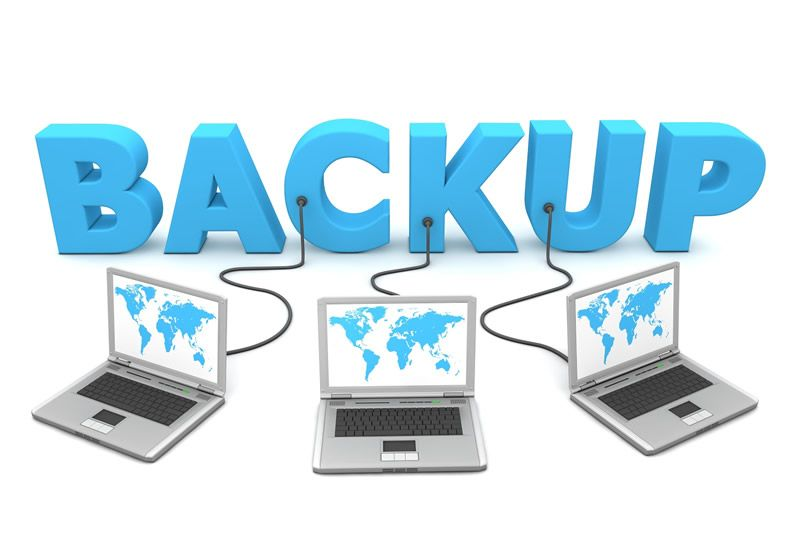 backup three laptops plugged into word
