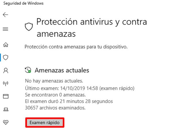 escaneo rápido de seguridad de windows